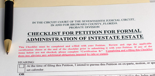 Example of a legal document from the Broward County Probate Court that's titled 'checklist for formal administration of intestate estate.'