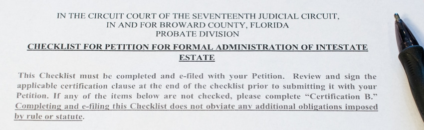 Checklist for formal administration of inestate estate with listed Florida probate rules