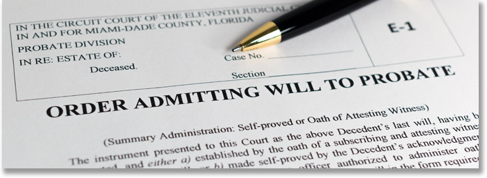 Example of a legal document from the Miami Dade County Probate Court that's titled 'Order Admitting Will to Probate'