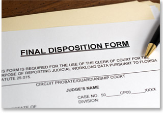 Example of a document from the Palm Beach County Probate Court with a pen on top of it. The document is titled 'final disposition form.'