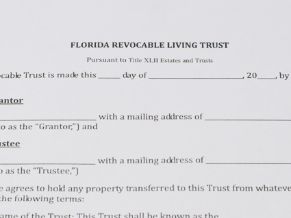 Paper copy of a trust attorneys legal document that's titled Florida Revocable Living Trust