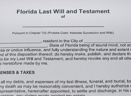 Paper copy of a legal document that's titled Florida Last Will and Testament