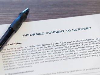 Legal contract for a patient to consent to surgery