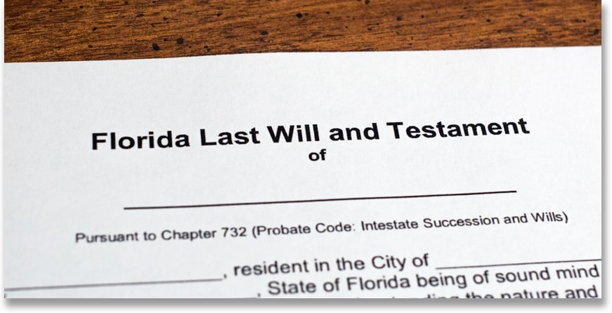 Copy of a Florida Last Will and Testament. There's legal writing and blank sections for someone to fill in.