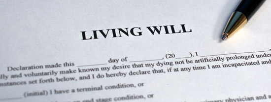 Physical copy of a living will that has blank spaces for someone to fill in information and put their initials