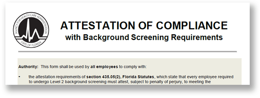 The top of a healthcare form to provide background screenings. The form is titled attestation of compliance with background screening requirements
