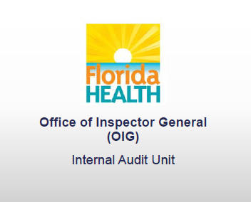 Slide with a Florida Health logo that's titled Office of Inspector General Internal Audit Unit