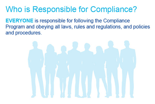 Slide discussing healthcare compliance that's titled who is responsible for compliance with silhouettes of people in the background