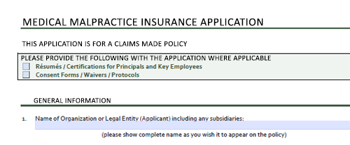 The top of a medical malpractice insurance application with information for healthcare providers to fill in