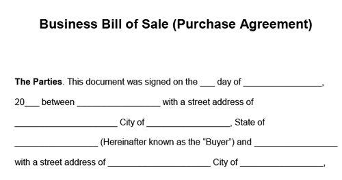 Example of a document used to purchase a business in Florida. The document is titled business bill of sale purchase agreement