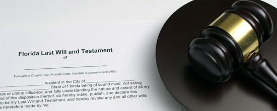Picture of an estate planning document called a Florida Last Will and Testament next to a gavel