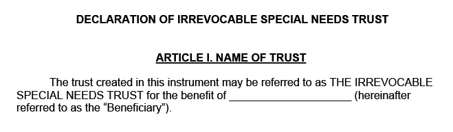 Example of a Florida special needs trust form titled declaration of irrevocable special needs trust