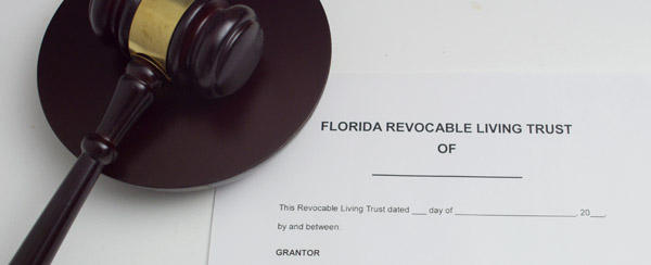 Florida Revocable Living Trust next to a judges gavel symbolizing trust litigation