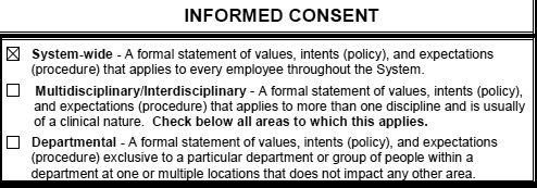Example of a patient consent form for medical treatment