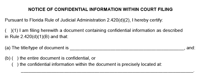 A PDF example of a Florida probate court notice of confidential information within the court filing