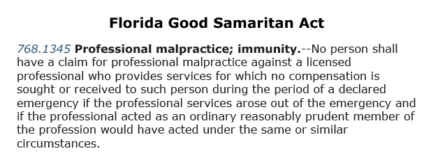 Summary and legal language surrounding the Florida Good Samaritan Act regarding medical malpractice