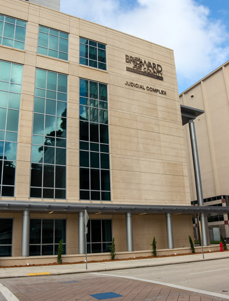 The Broward County Probate Court building that's labeled Broward County Judicial Complex
