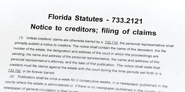 Florida Statute 733.2121, shown with multiple subsections and amendments on the page, as well as references to other Florida statutes